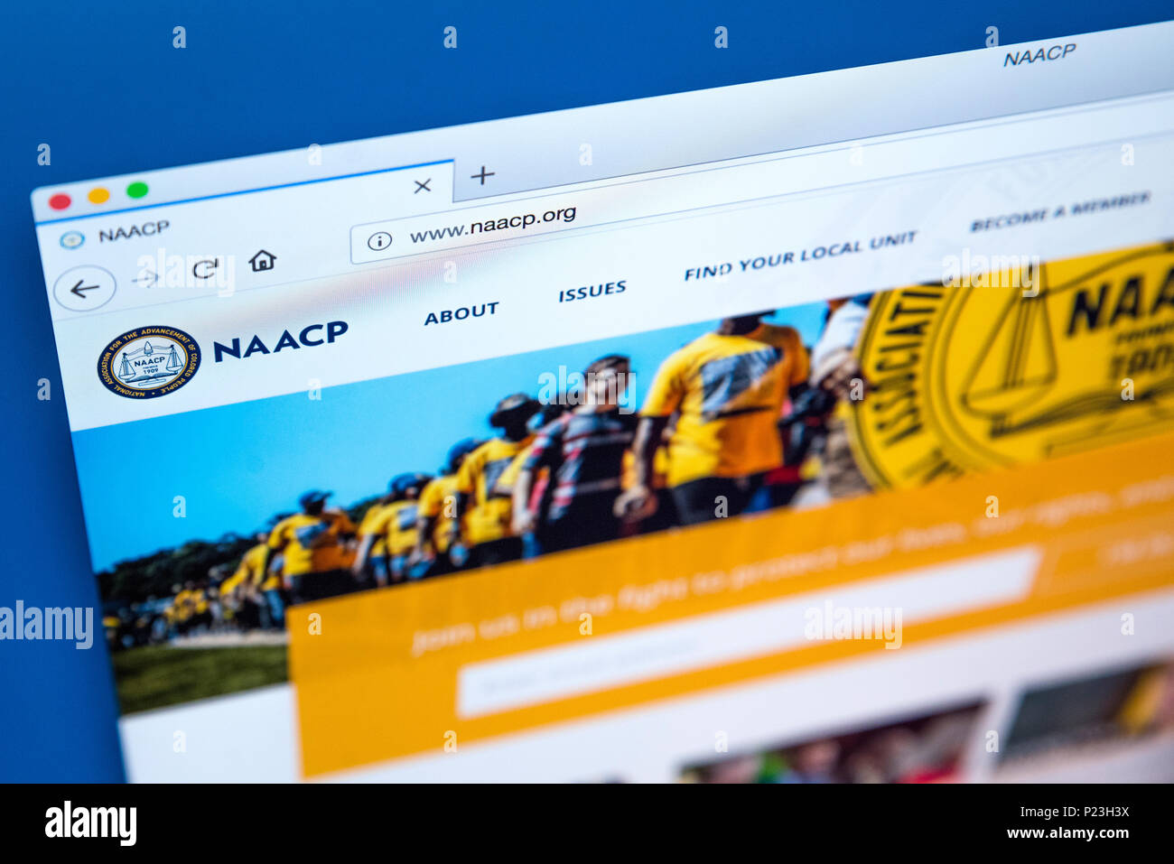 LONDON, UK - FEBRUARY 8TH 2018: The homepage of the website for the National Association for the Advancement of Colored People - the civil rights orga - Stock Image