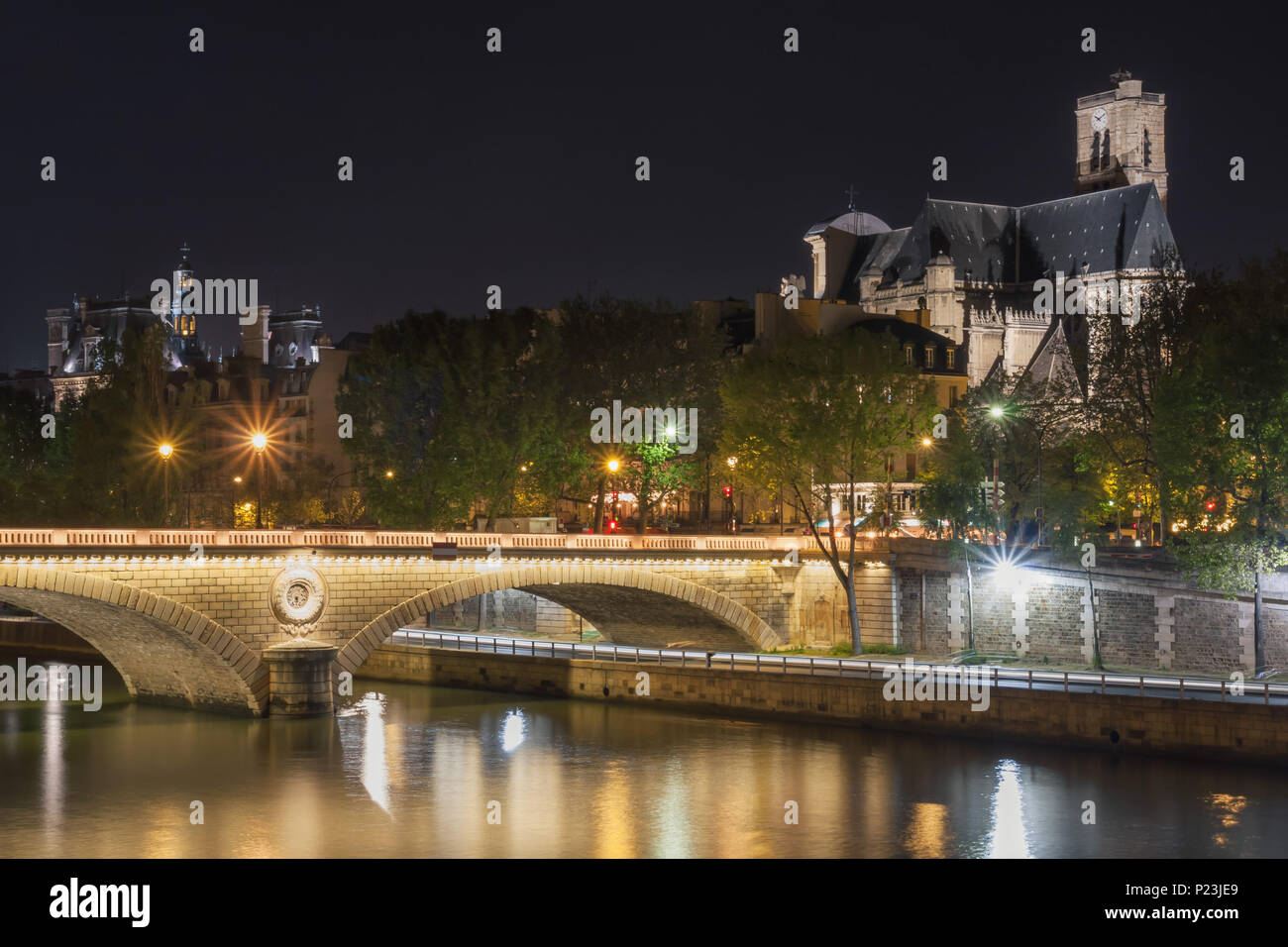 Pont Louis Philippe and Eglise Saint-Gervais at night. Paris. France - Stock Image