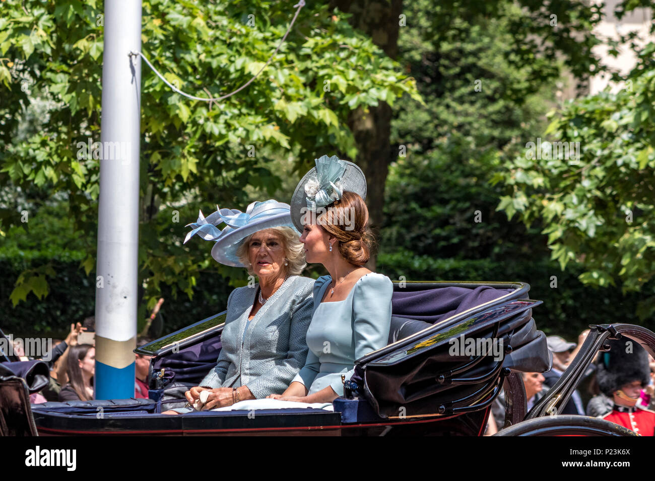 HRH The Duchess Of Cambridge,Kate Middleton & HRH The Duchess Of Cornwall  riding together in a carriage at The Trooping Of The Colour Ceremony 2018 - Stock Image