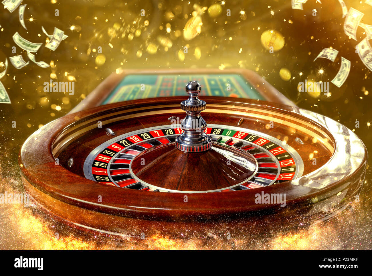 Collage of casino images with a close-up vibrant image of multicolored casino roulette table with poker chips - Stock Image