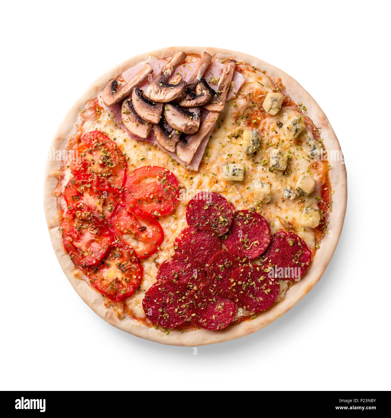 Pizza With Pepperoni Champignons Tomato And Cheese Four