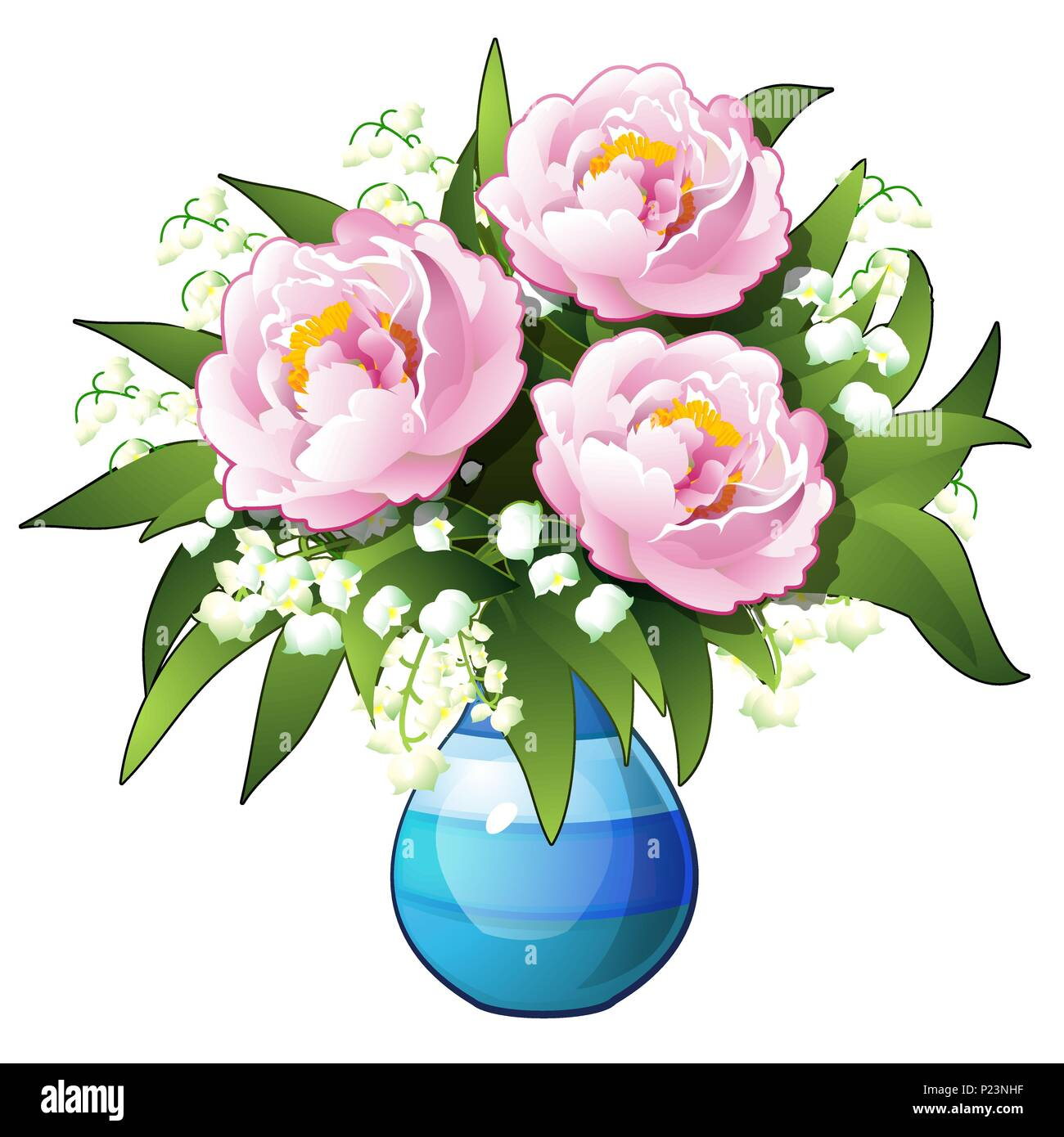 Bouquet of flowers lilies of the valley and peonies in a blue vase bouquet of flowers lilies of the valley and peonies in a blue vase isolated on white background vector cartoon close up illustration izmirmasajfo
