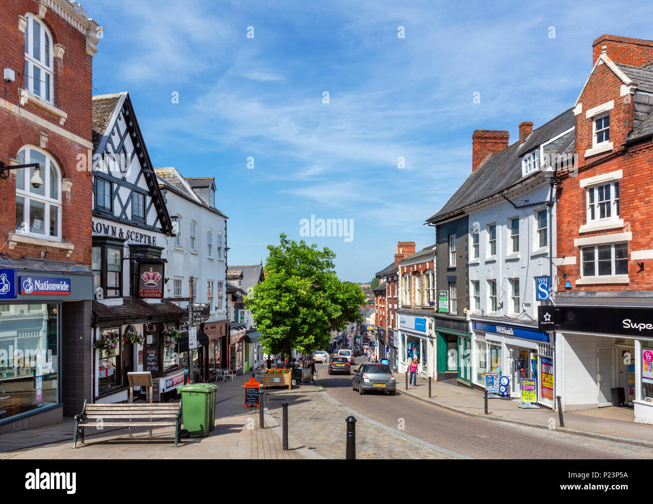 Shops on Broad Street in the town centre, Ross-on-Wye, Herefordshire, England, UK - Stock Image