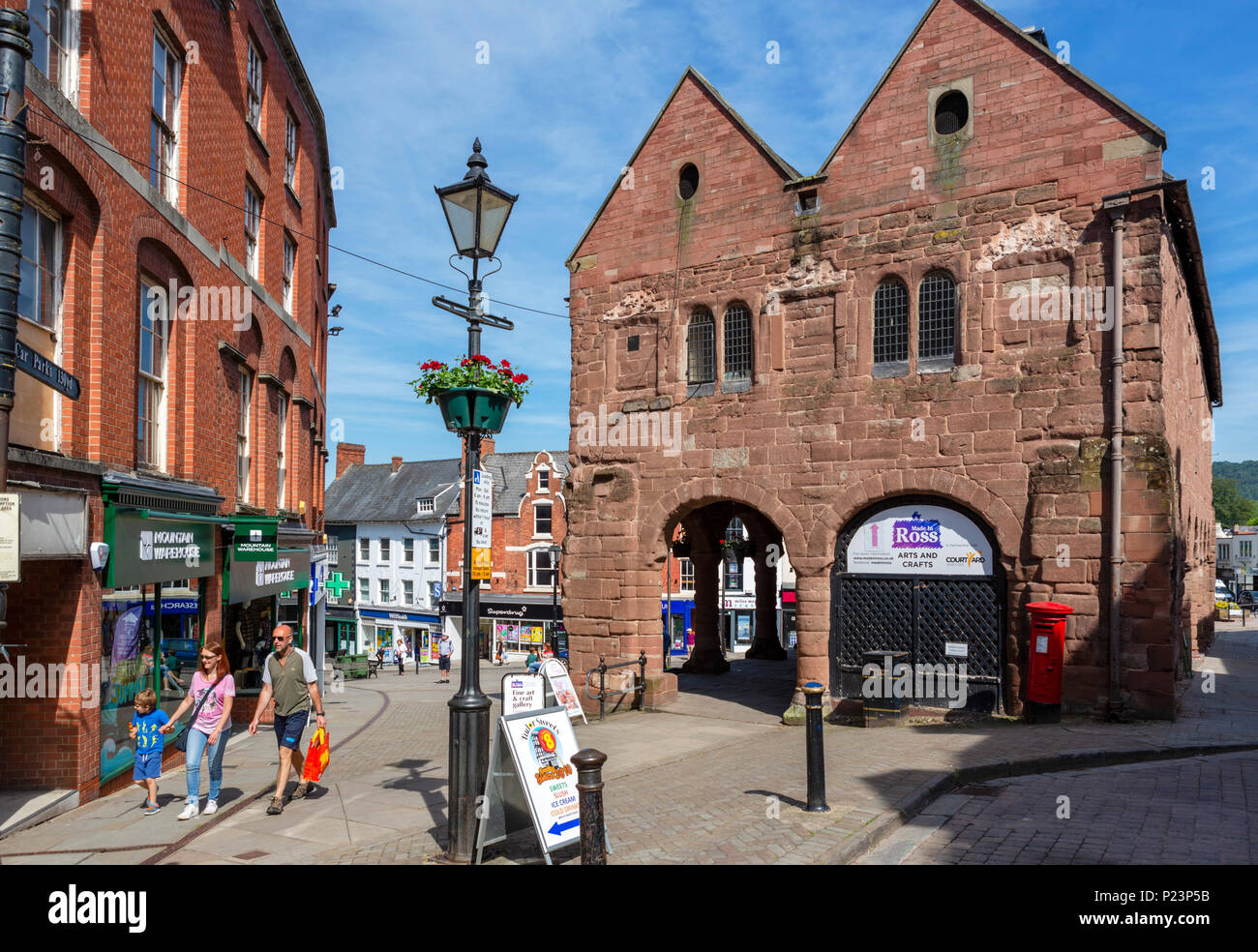 The Market House and shops in the town centre, Ross-on-Wye, Herefordshire, England, UK - Stock Image