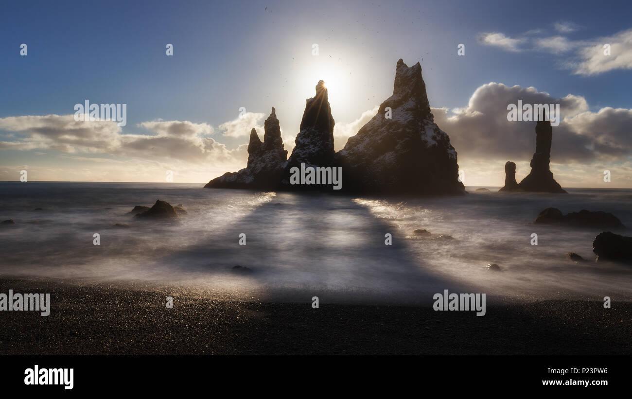 Reynisdrangar, iconic rocks in Reynisfjara beach - Stock Image