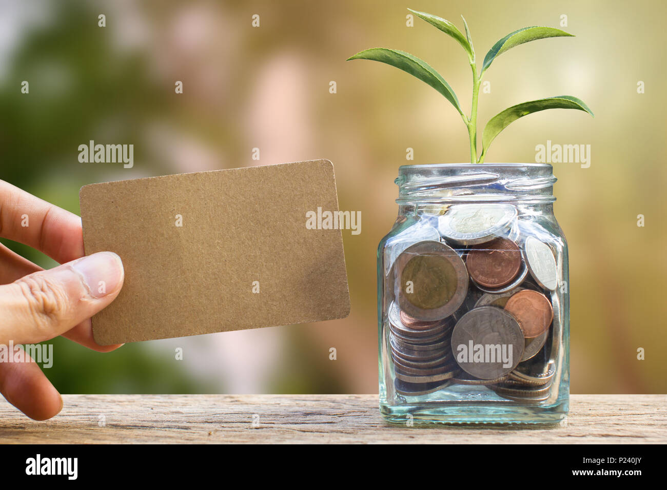 Saving and invest money concept. Conceptual hand holding brown card near the glass jar on nature background. Business investment growth concept. Inves - Stock Image