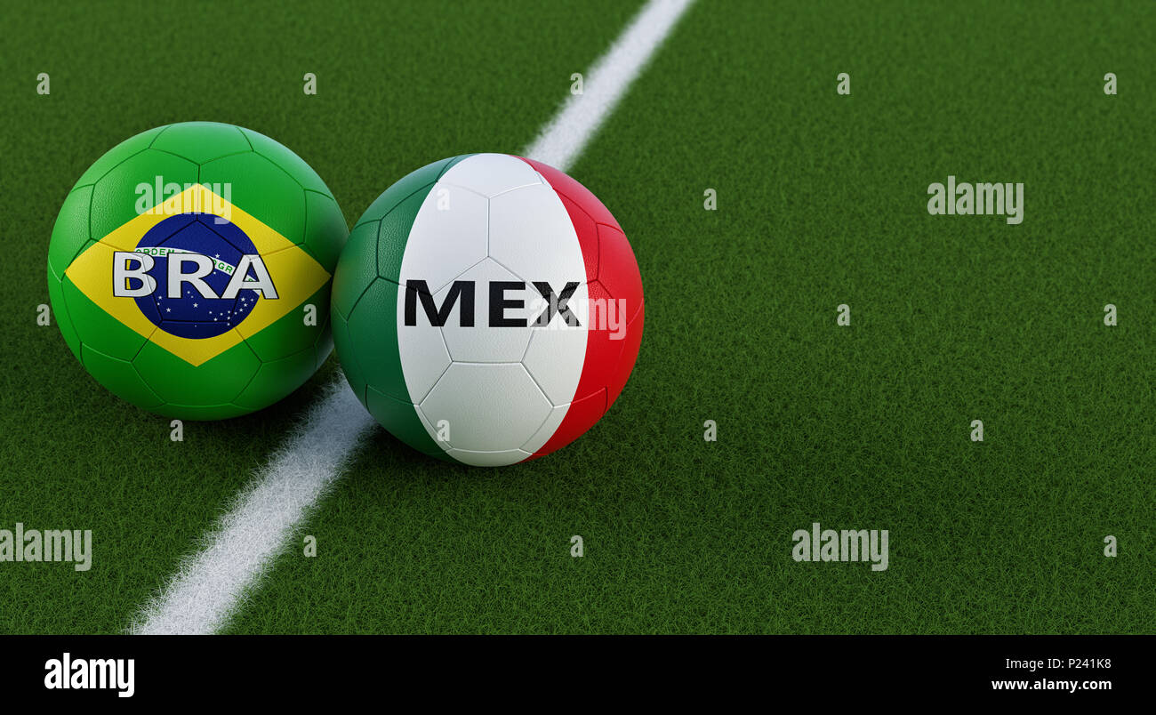 87e67cd9f Brazil vs. Mexico Soccer Match - Soccer balls in Brazils and Mexicos  national colors on