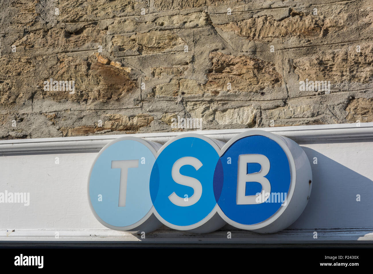 Overhead sign of retail TSB bank branch in Truro, Cornwall. - Stock Image