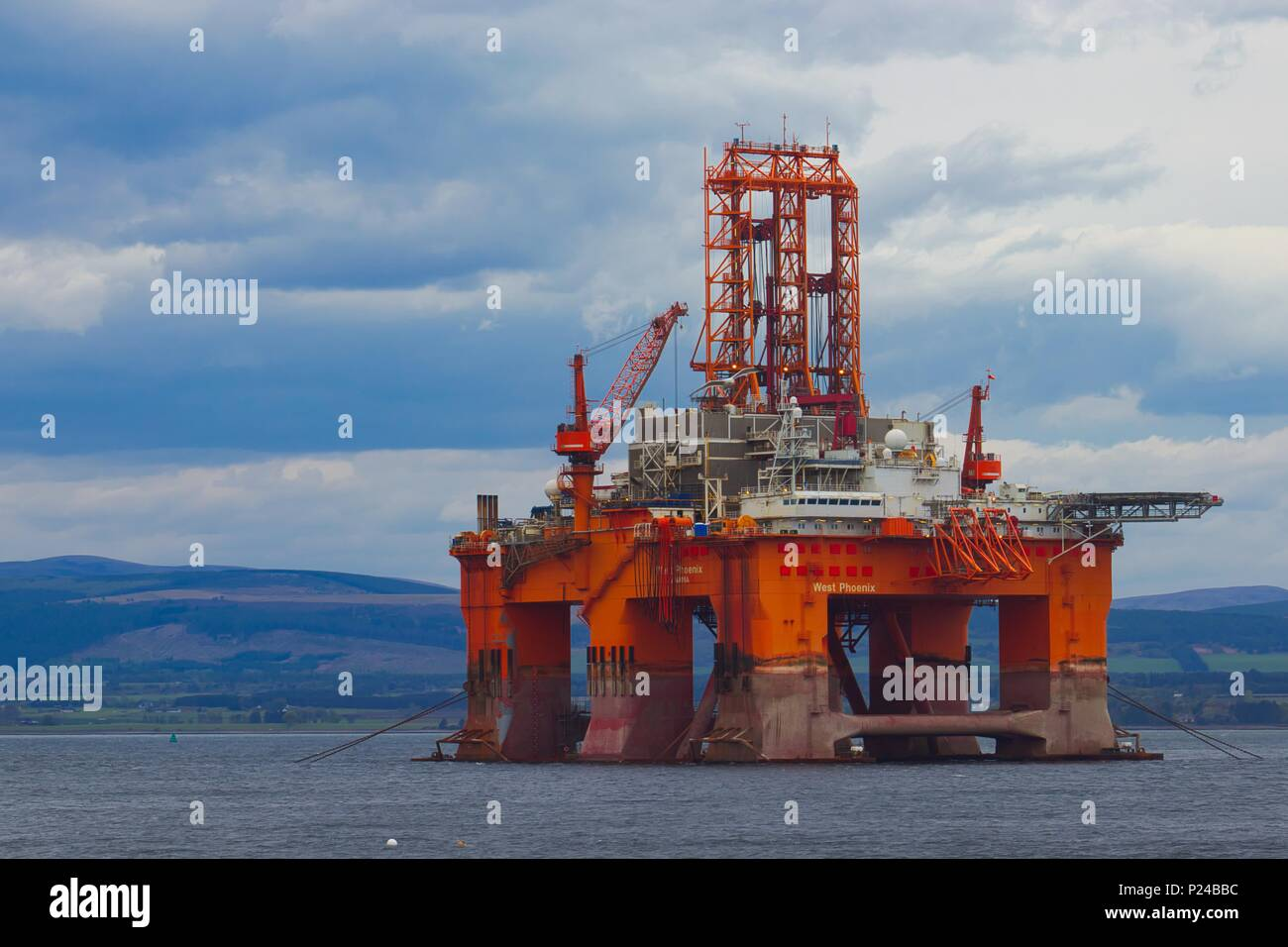 An oil rig anchored in the Cromarty Firth, Scotland - Stock Image