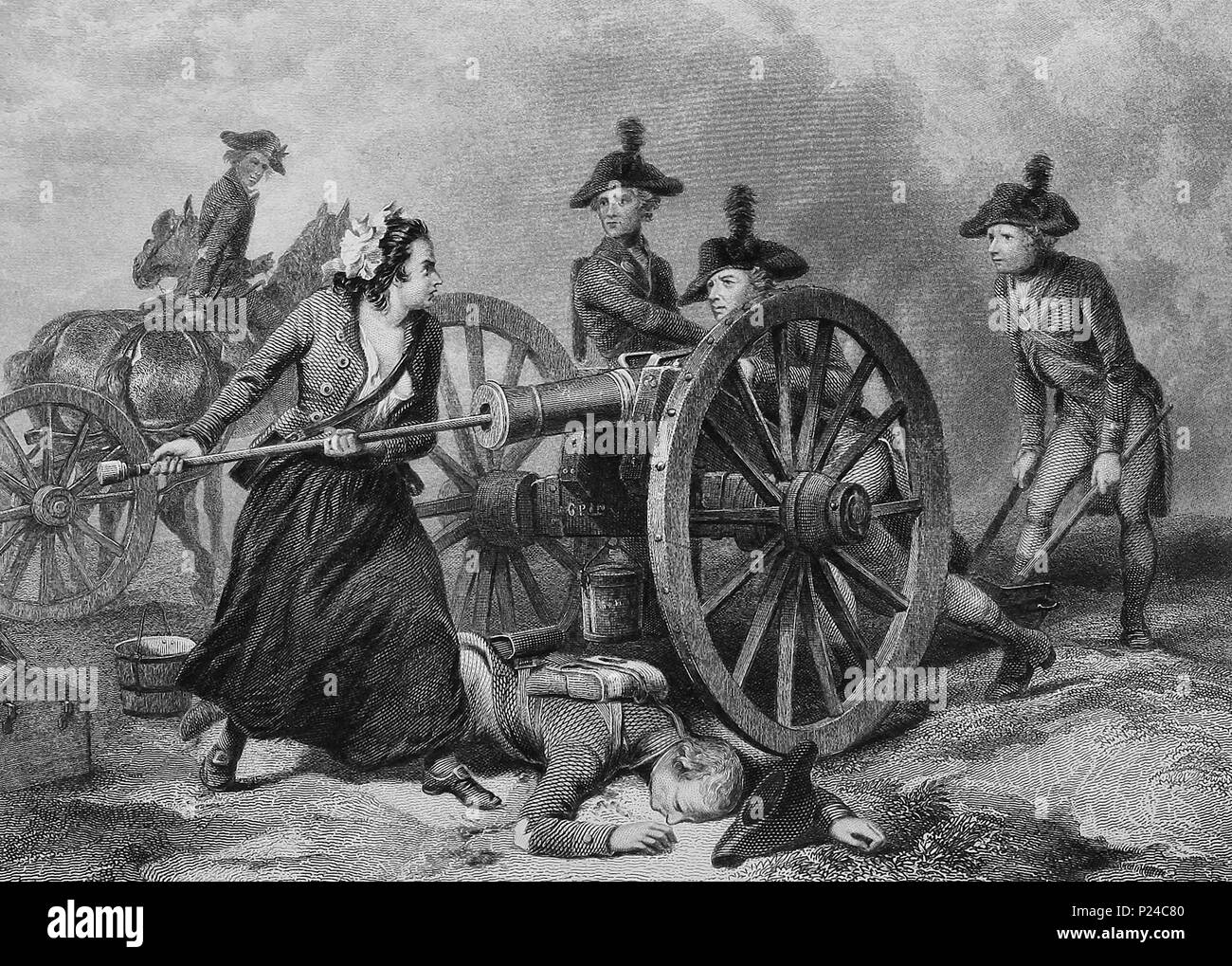 Molly Pitcher at the Battle of Monmouth, June 28,1778,  during the American Revolution. The legend of Molly Pitcher is closely associated with the battle - Stock Image