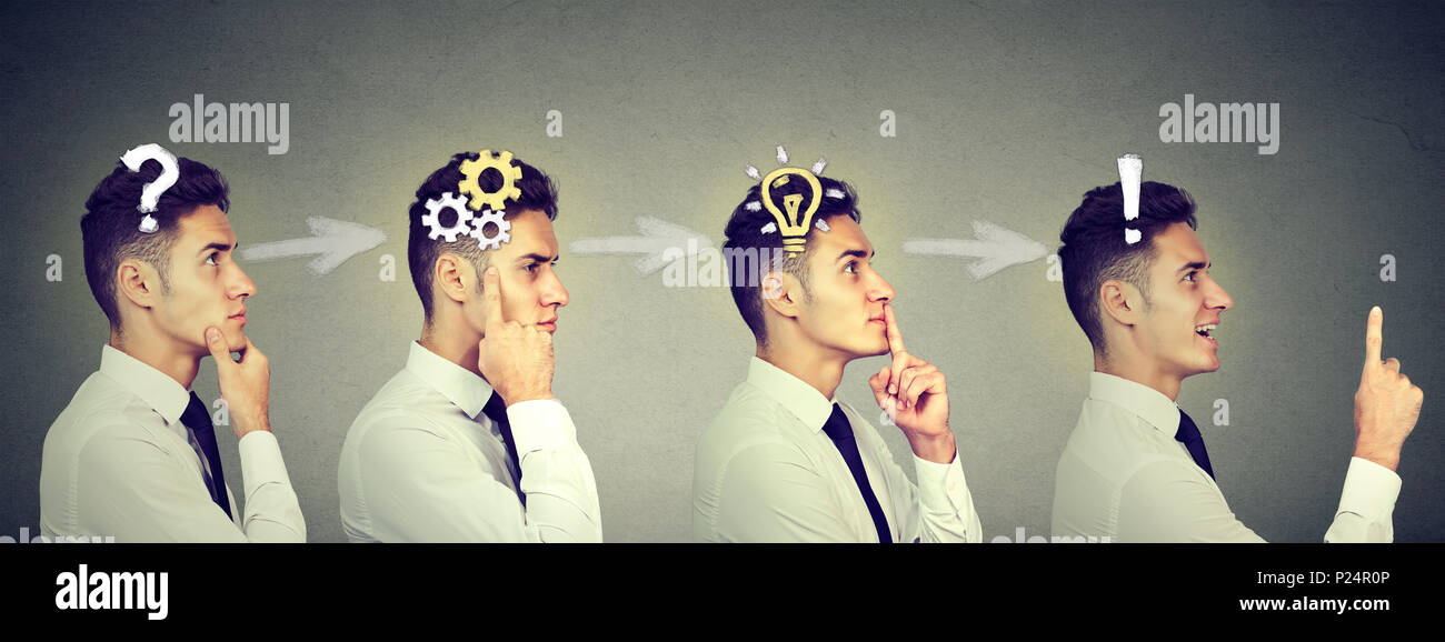 Emotional intelligence. Side view sequence of a young business man thinking, finding solution to a problem with gear mechanism, question, exclamation, - Stock Image