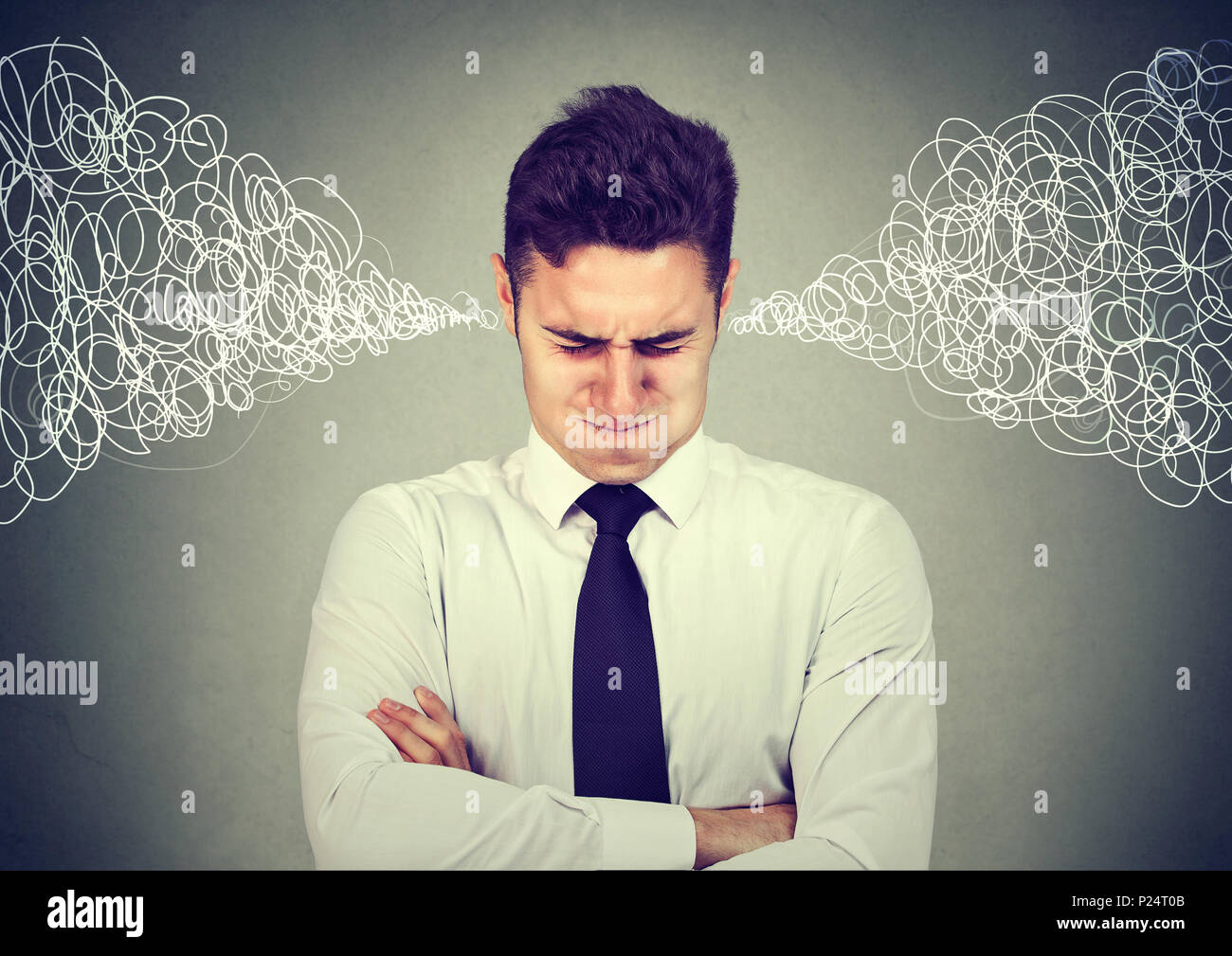 Stressed out business man - Stock Image