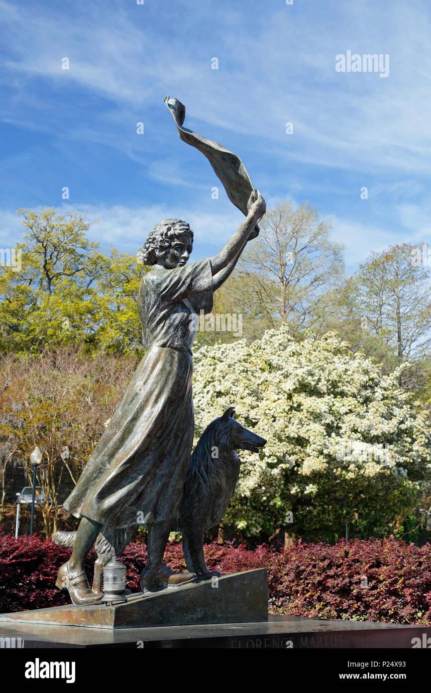 Savannah Georgia. Waving girl statue along the Savannah river front. Stock Photo