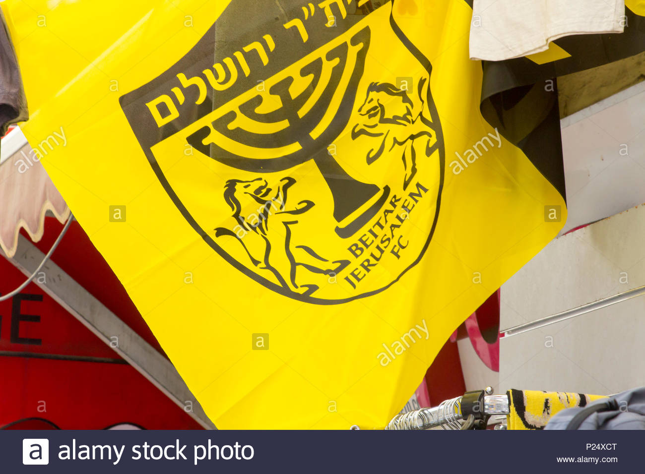 9 May 2018 A supporter's pennant for the Jerusalem Beitar premier League team on sale at the Mahane Yehuda street market in Jerusalem israel - Stock Image