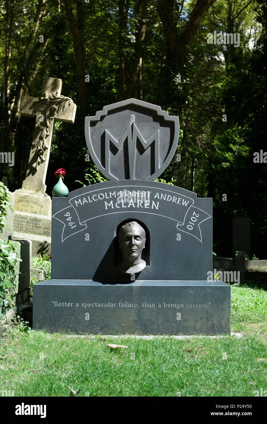 London, UK, Tombstone of Malcom McLaren in the cemetery Highgate - Stock Image