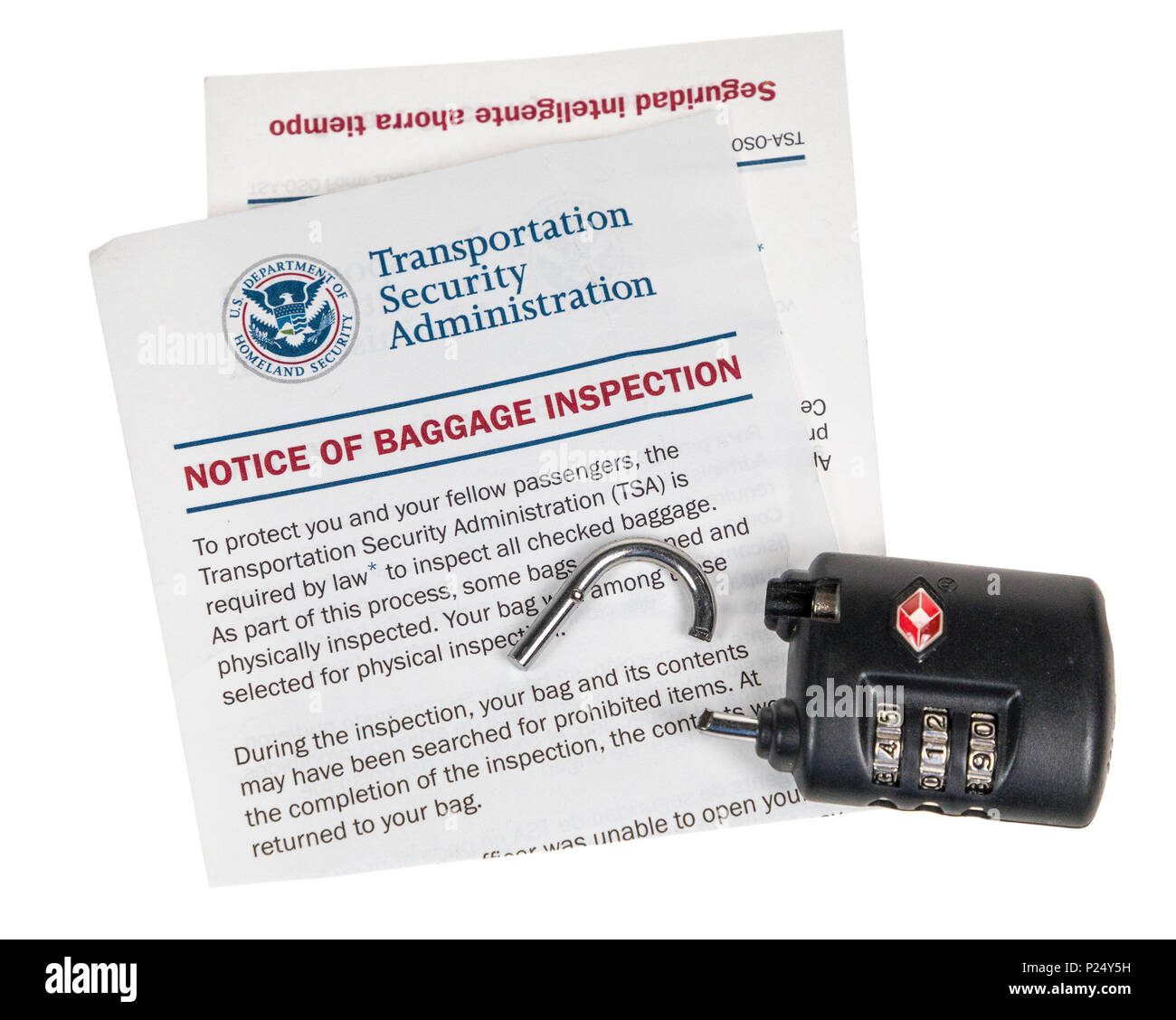 TSA lock cut off bag by Transport Security Administration in the USA, instead of opening it using a key - Stock Image