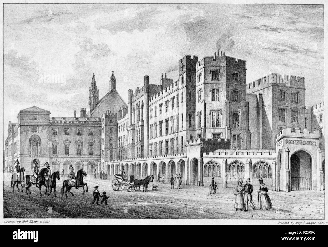 . English: Drawn by J. Shury & Son, Printed by Day & Haghe . circa 1834. Drawn by J. Shury & Son, Printed by Day & Haghe 267 Print of Houses of Parliament before 1834 Fire - Stock Image