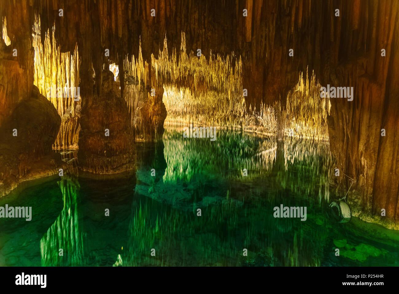 Famous Cuevas Del Drach In Mallorca Island Spain