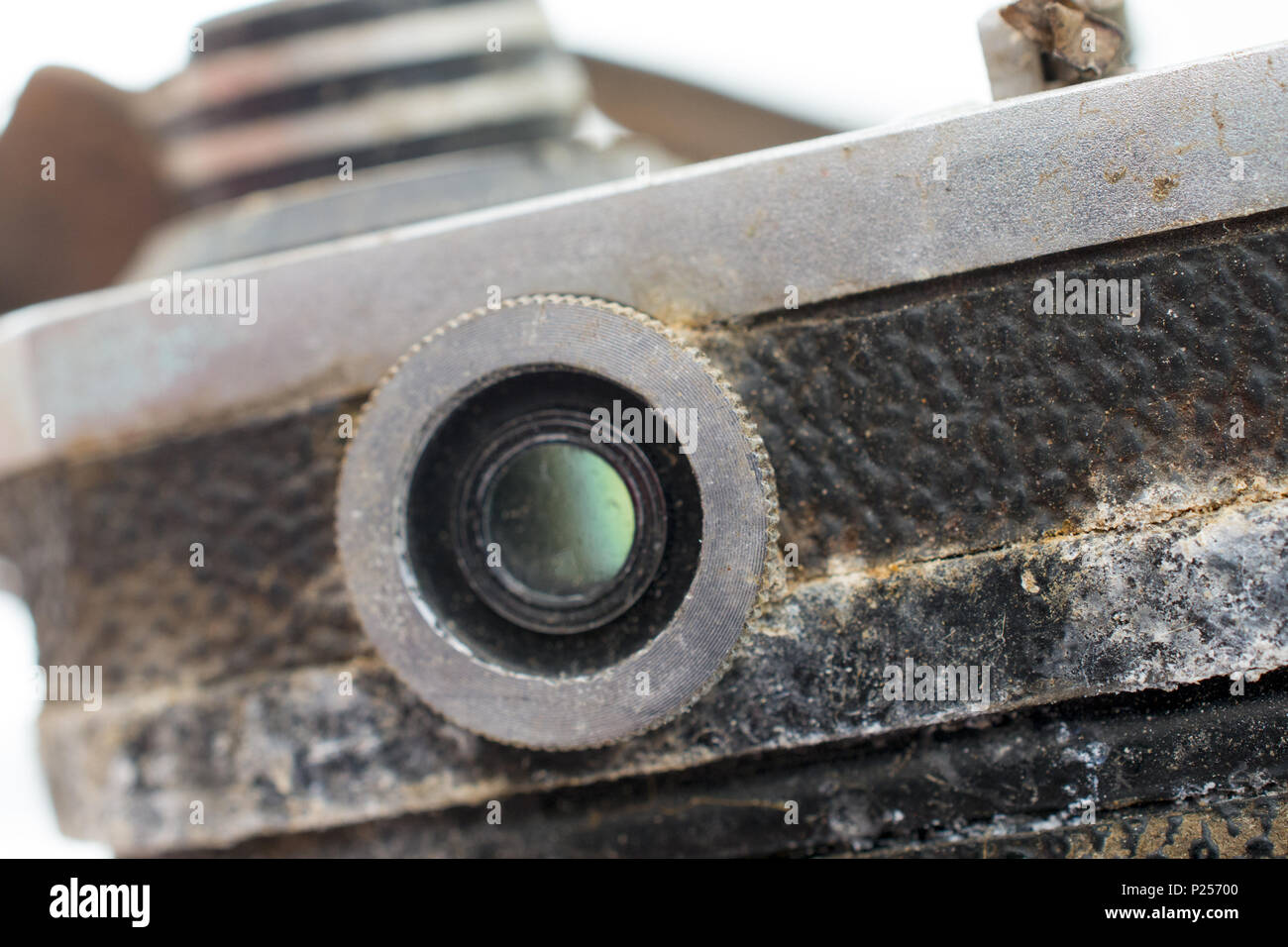 image of a vintage rusty and dusty film camera - Stock Image
