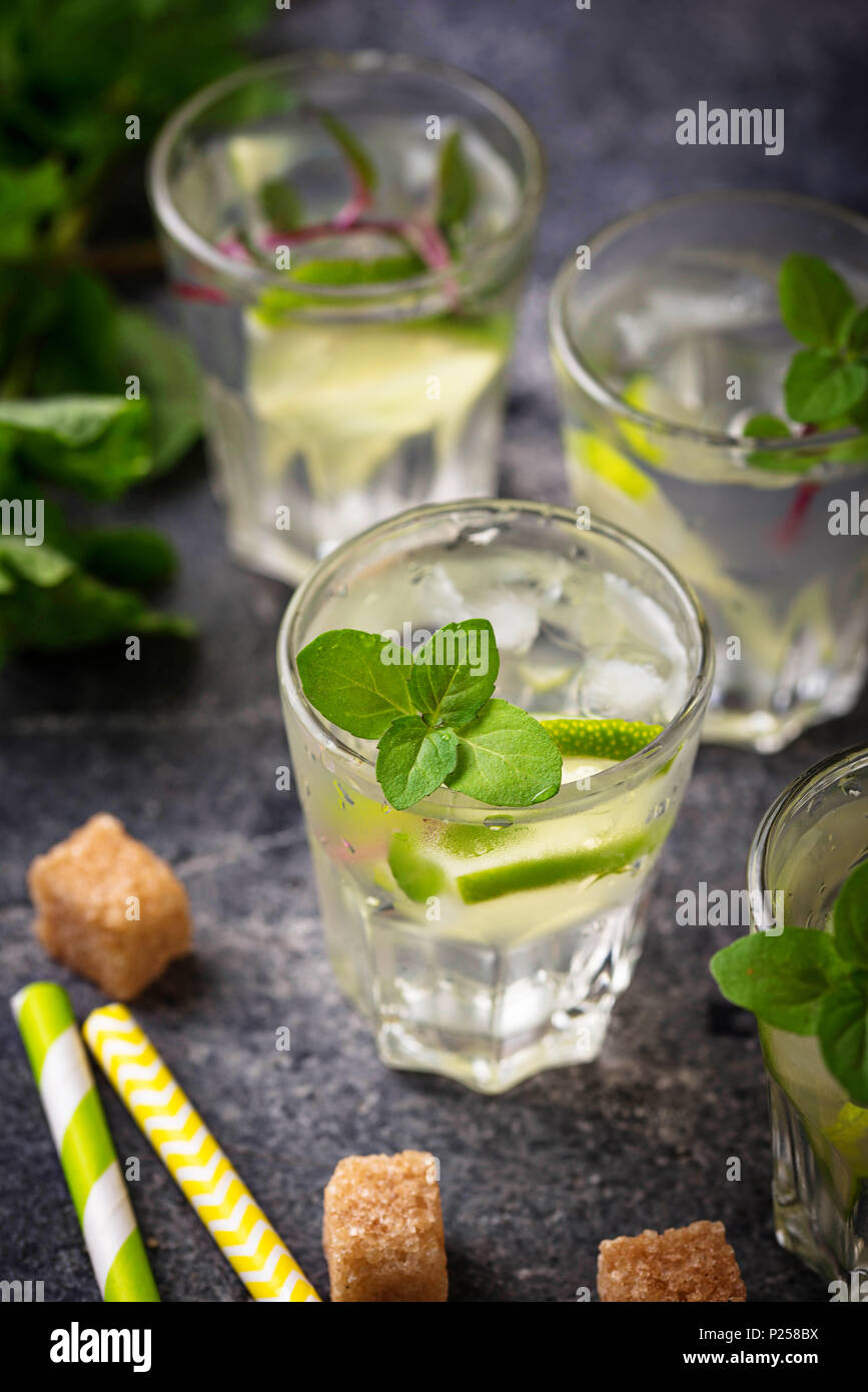Summer  drink with lime and mint - Stock Image