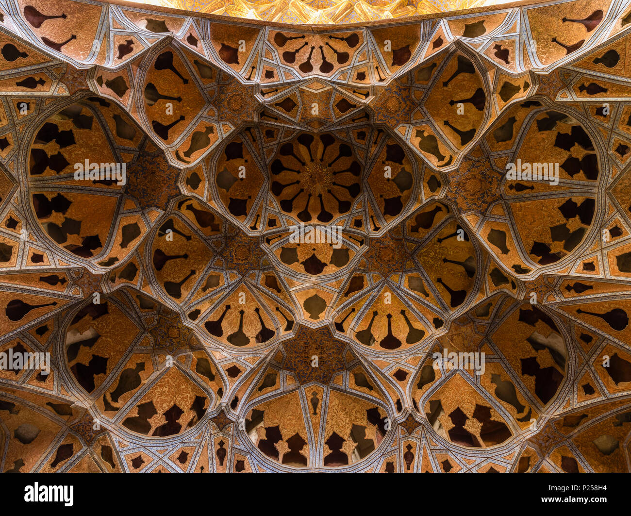 Open-work ceiling ornament in Ali Qapu Palace in Isfahan Stock Photo