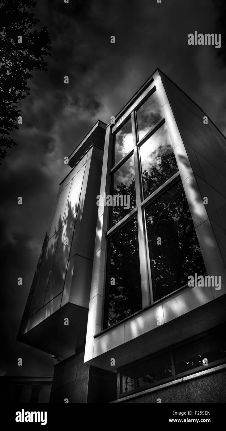 Palais de Justice, built in 2005, facade, window, detail, black and white - Stock Image