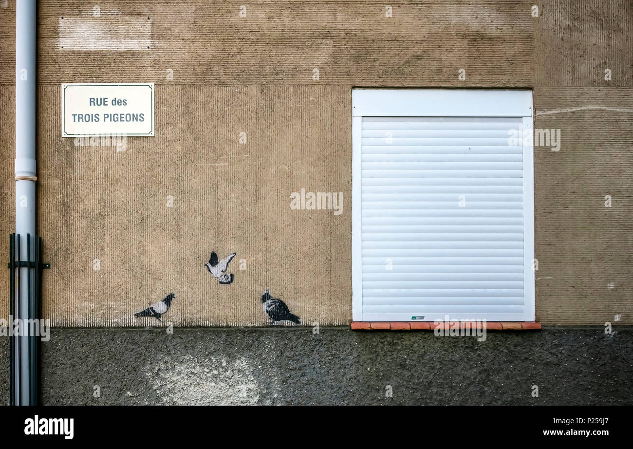 Graffiti of three pigeons, corresponding to the street name 'Rue des Trois Pigeons' - Stock Image