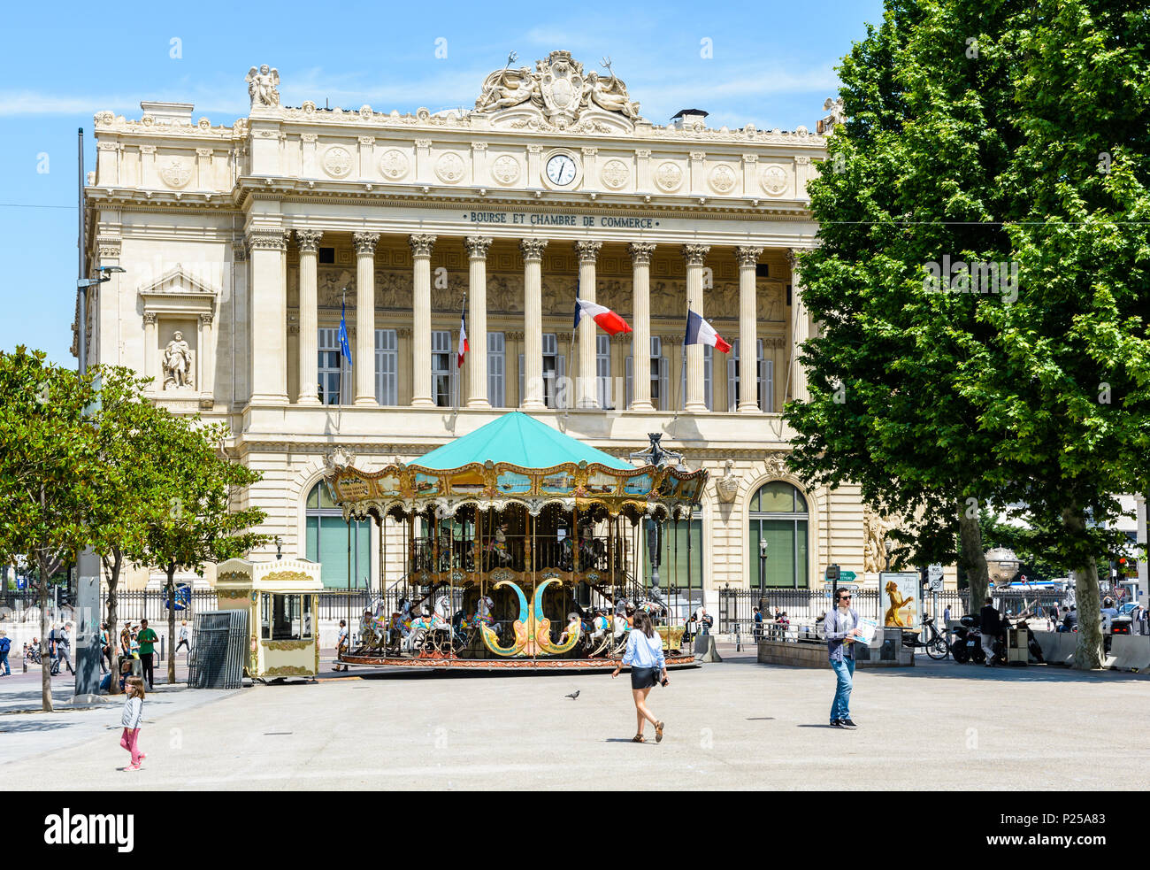 The Palais de la Bourse, located on the Canebiere in Belsunce district, is the headquarters of the Chamber of Commerce and Industry and houses the Mar - Stock Image