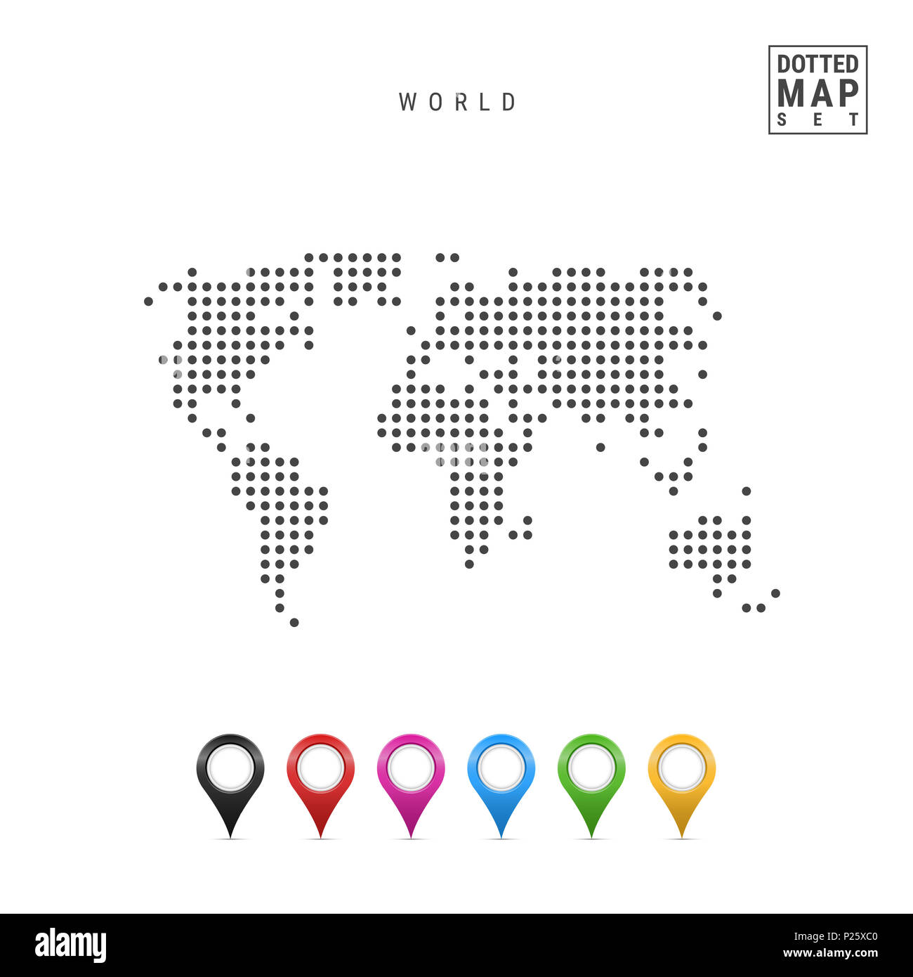 Simple world map outline cut out stock images pictures alamy dotted map of the world simple silhouette of the world set of multicolored map gumiabroncs Image collections