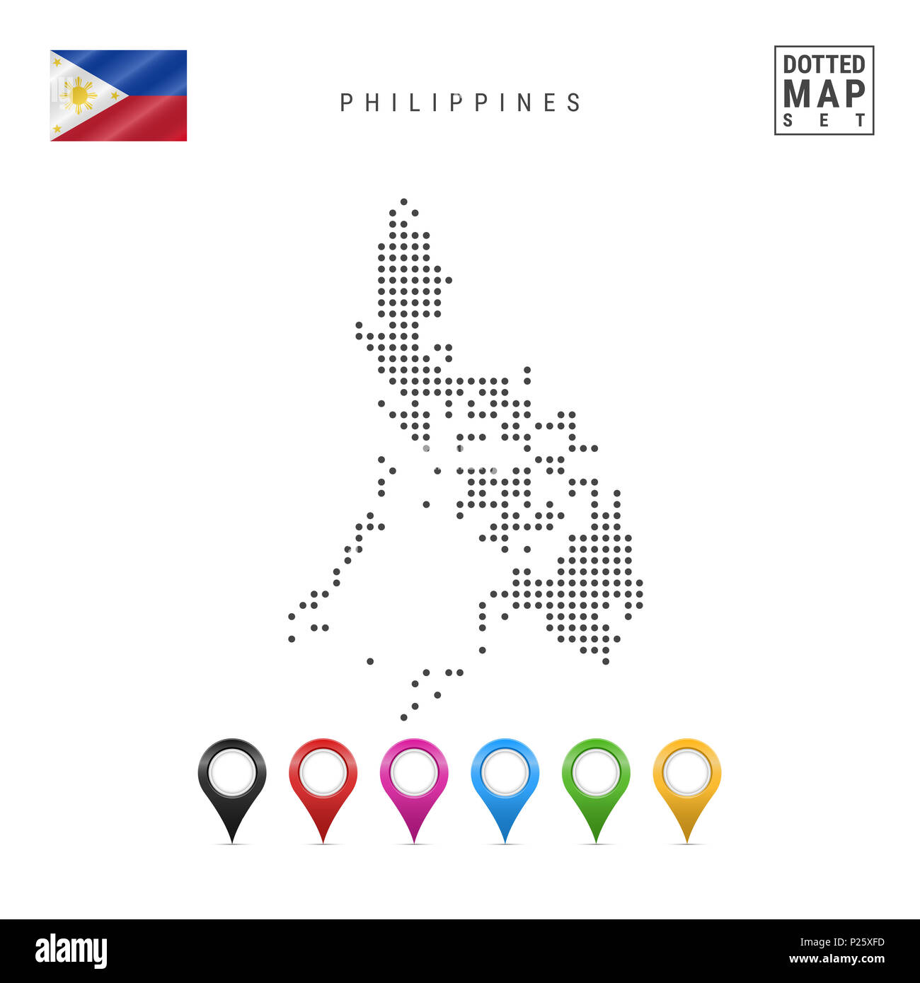 Simple Philippines Map.Dotted Map Of Philippines Simple Silhouette Of Philippines The
