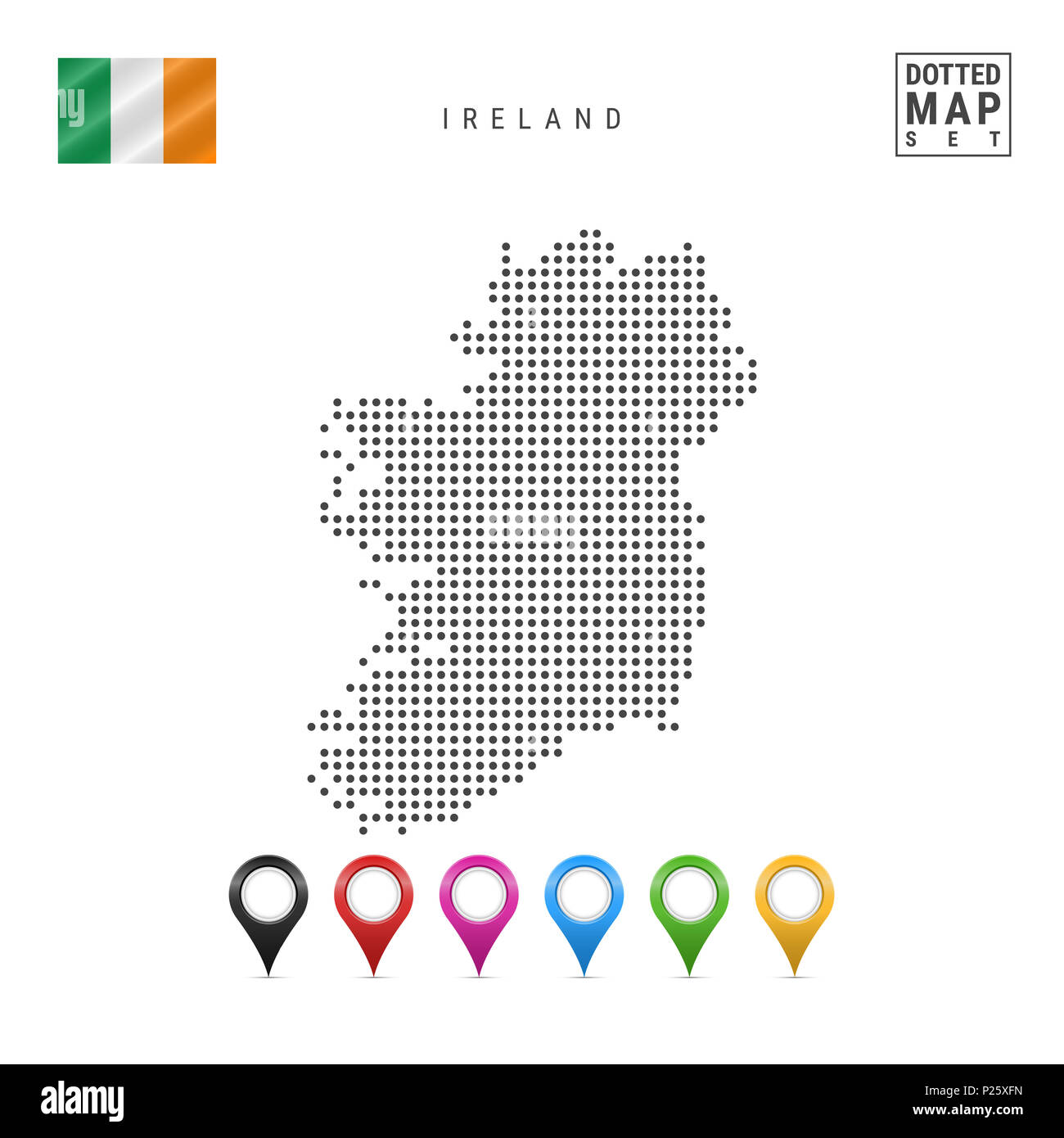 Simple Map Of Ireland.Dotted Map Of Ireland Simple Silhouette Of Ireland The National