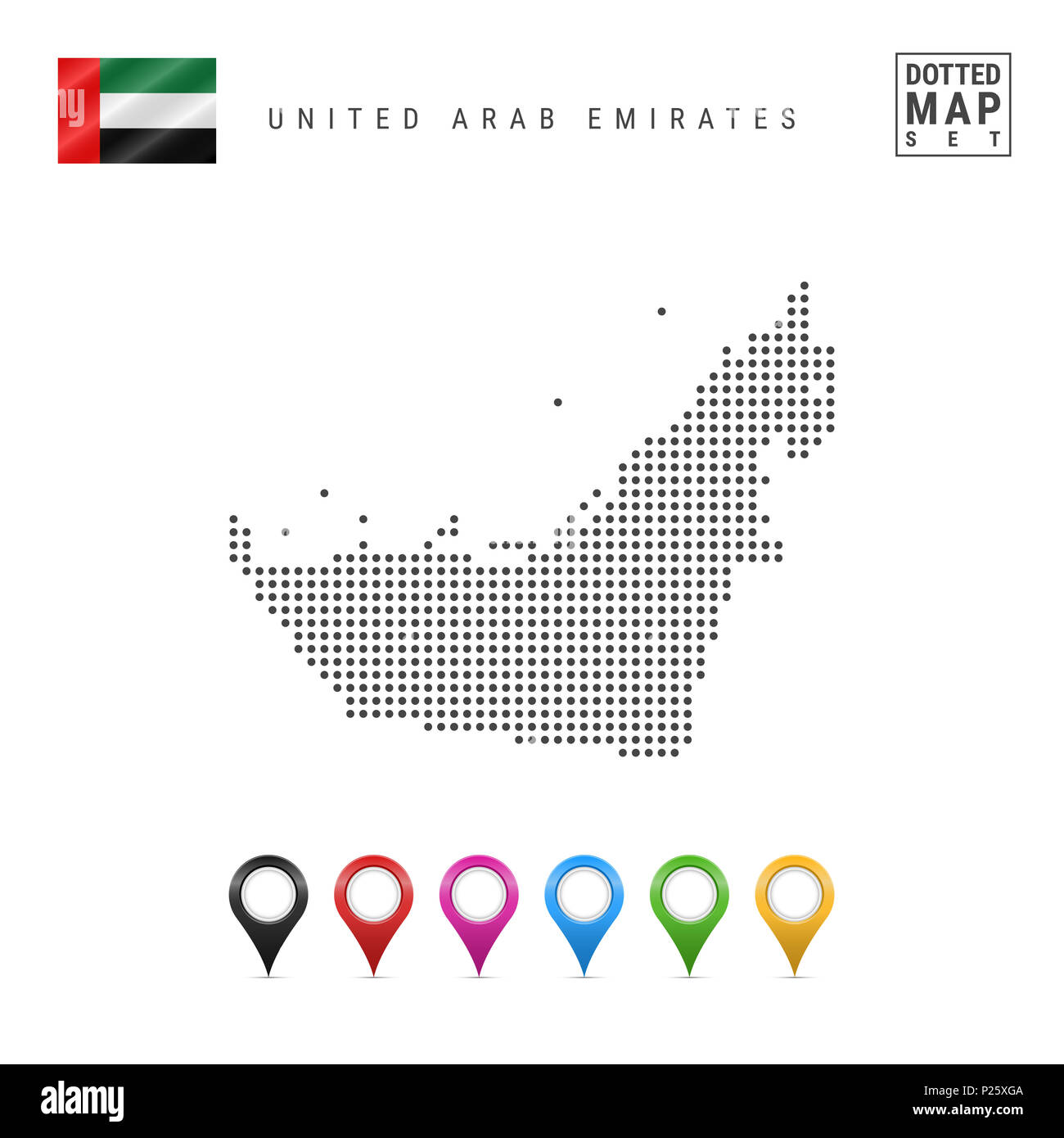 Dotted Map of United Arab Emirates. Simple Silhouette of United Arab Emirates. National Flag of United Arab Emirates. Set of Multicolored Map Markers. - Stock Image