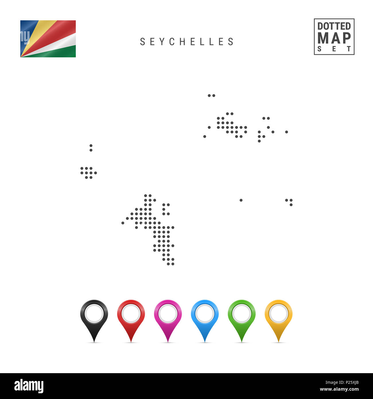 Dotted Map of Seychelles. Simple Silhouette of Seychelles. The National Flag of Seychelles. Set of Multicolored Map Markers. Illustration Isolated on  - Stock Image