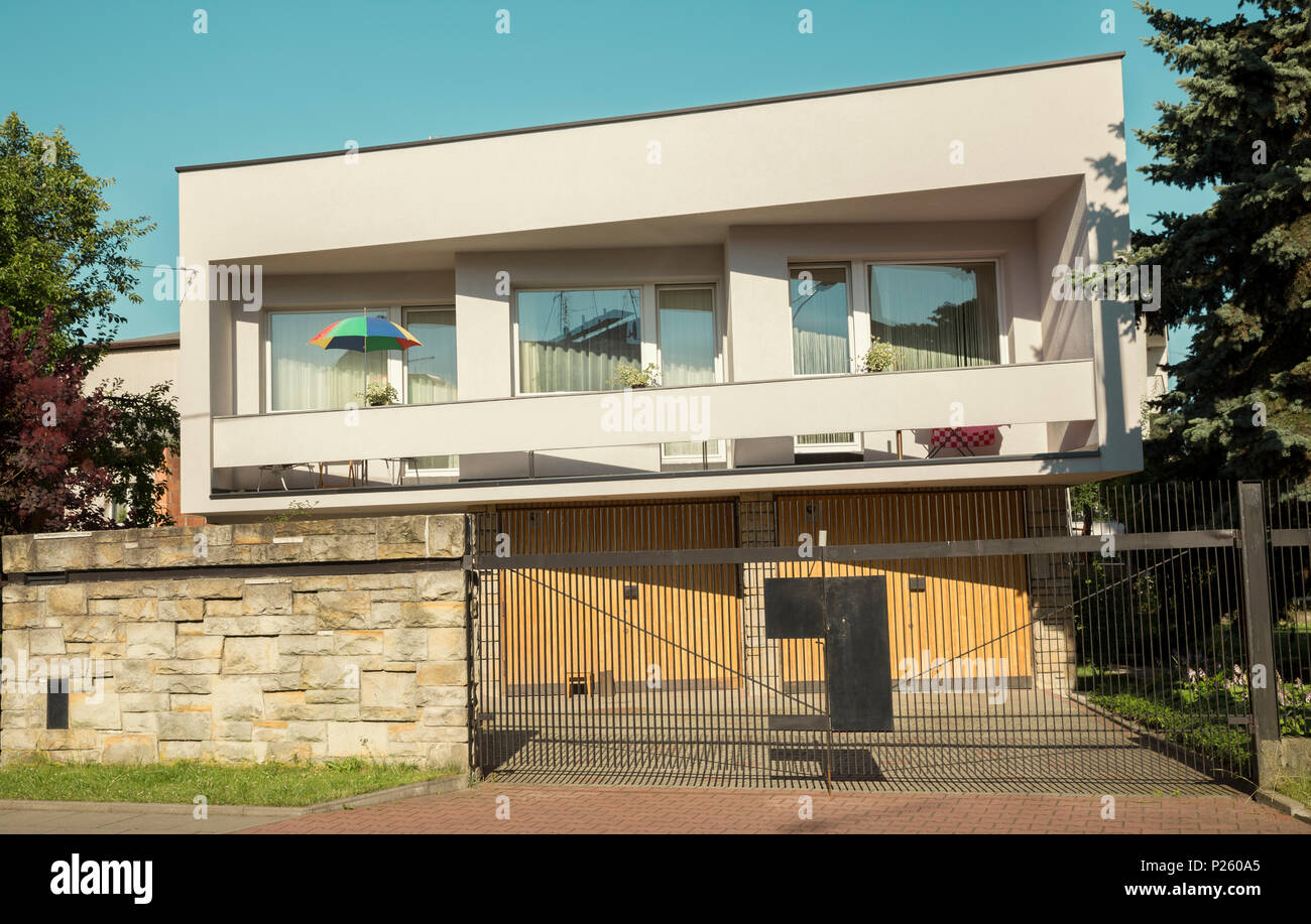 Krakow, Poland - July 3, 2014: Single family house built in 60s - modernism style in Krakow, Poland Stock Photo