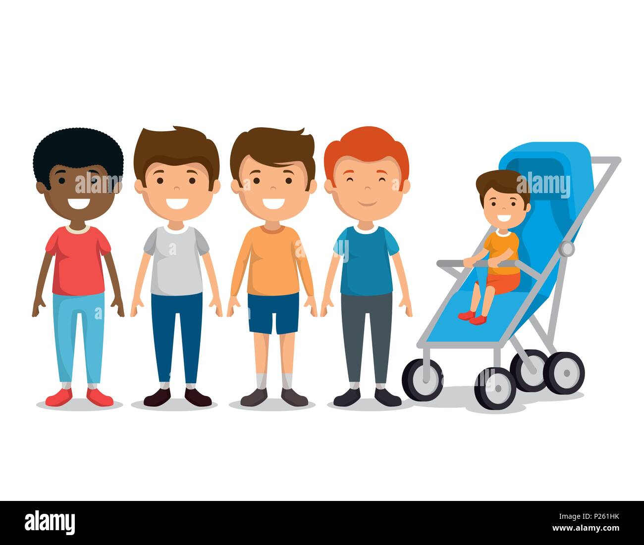 group of boys friends characters - Stock Image