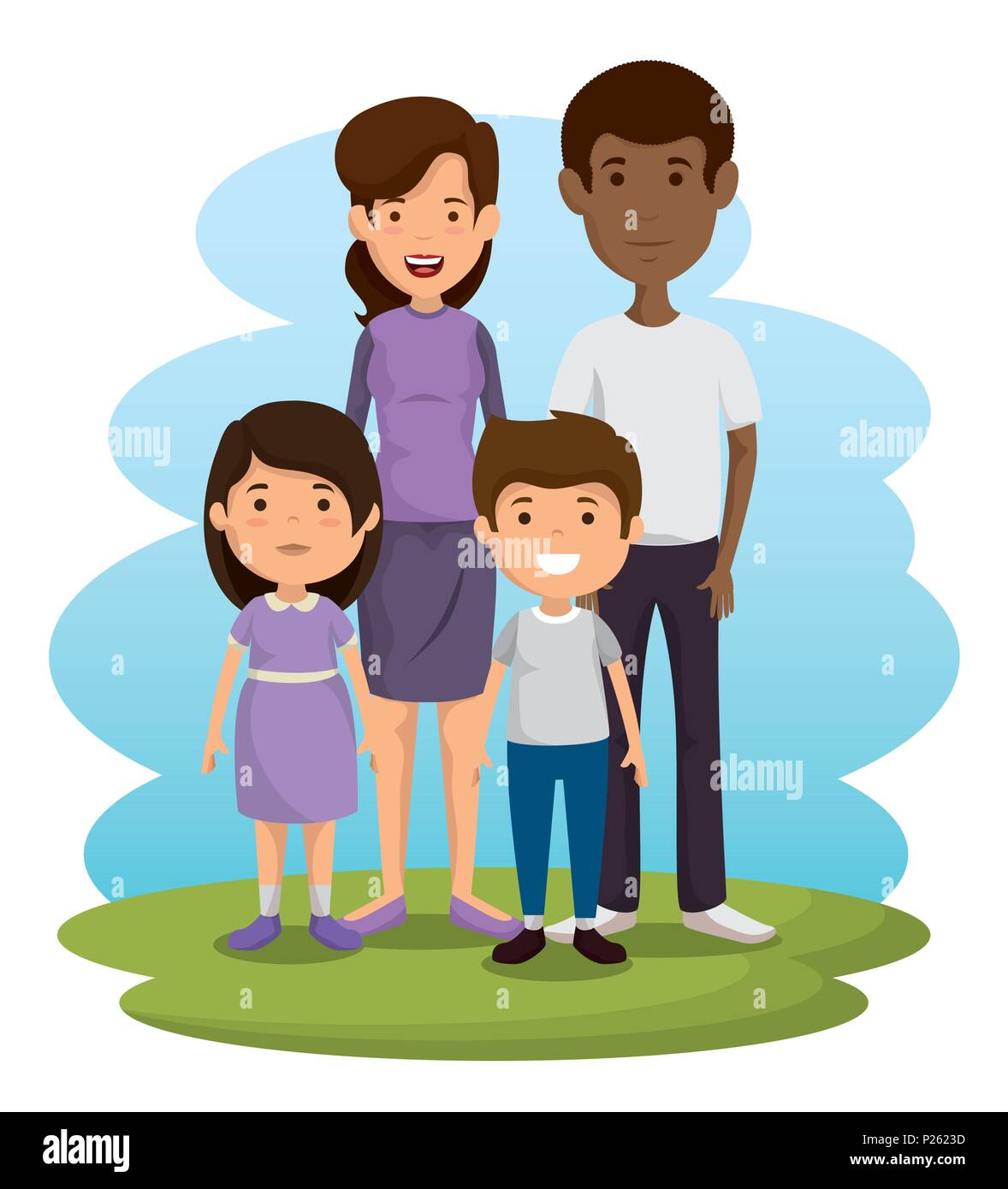 parents with kids avatars characters - Stock Image