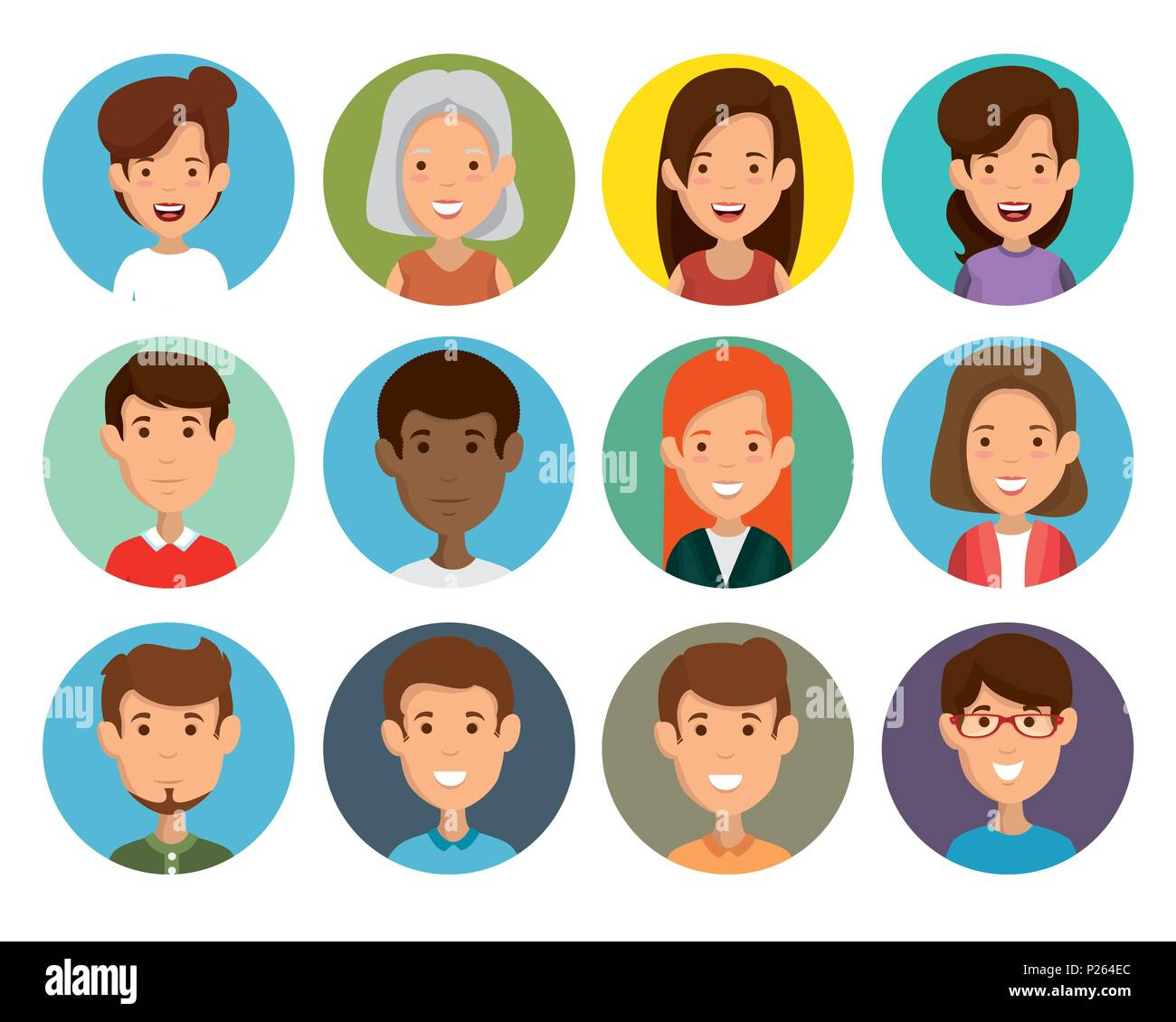 group of friends characters - Stock Image