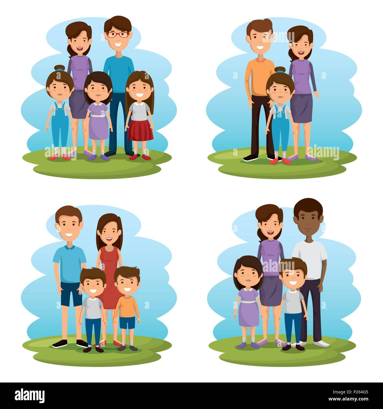 group of family members avatars characters - Stock Image