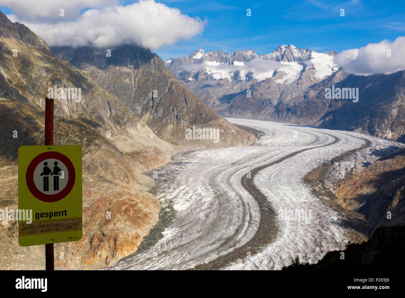 Riederalp, Switzerland, the Aletsch glacier - Stock Image