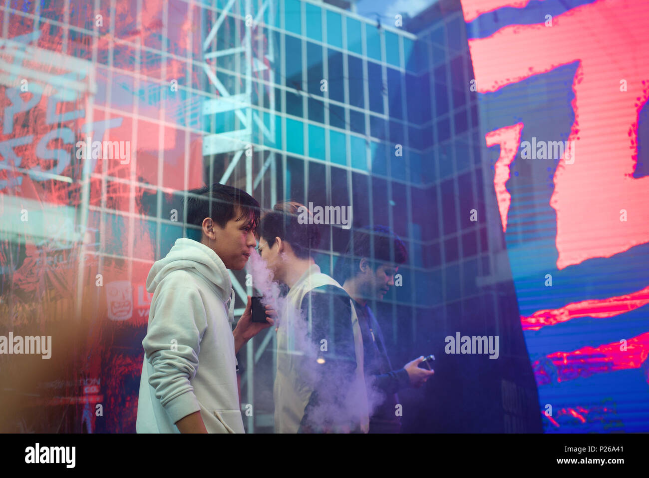 Vape-cloud trickers are warming-up before vape-cloud trick contest during Jakarta Vape Fest 2018 in South Jakarta, 6 May 2018. © Reynold Sumayku - Stock Image