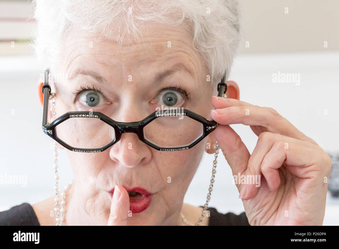 Woman Librarian Gesturing for Silence, USA - Stock Image