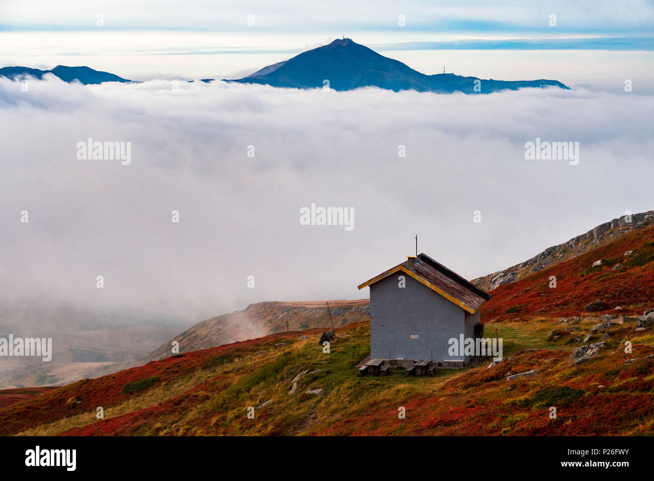 Mount Cimone emerges from the clouds, Corno alle scale, Appennines, Bologna province, Emilia Romagna, Italy, Europe - Stock Image