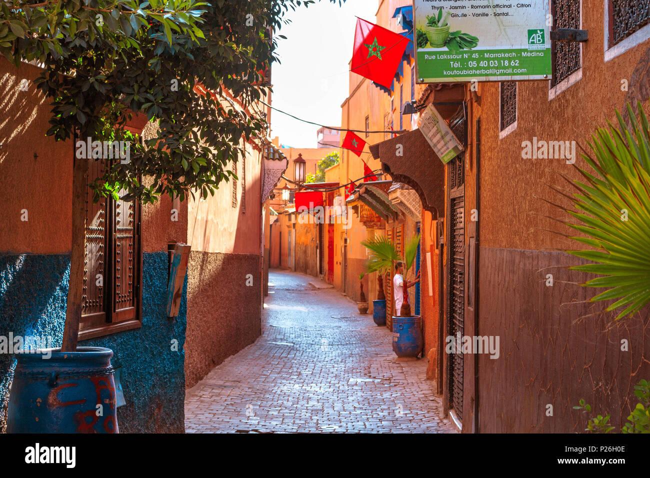 Marrakesh Medina colorful streets Morocco Stock Photo