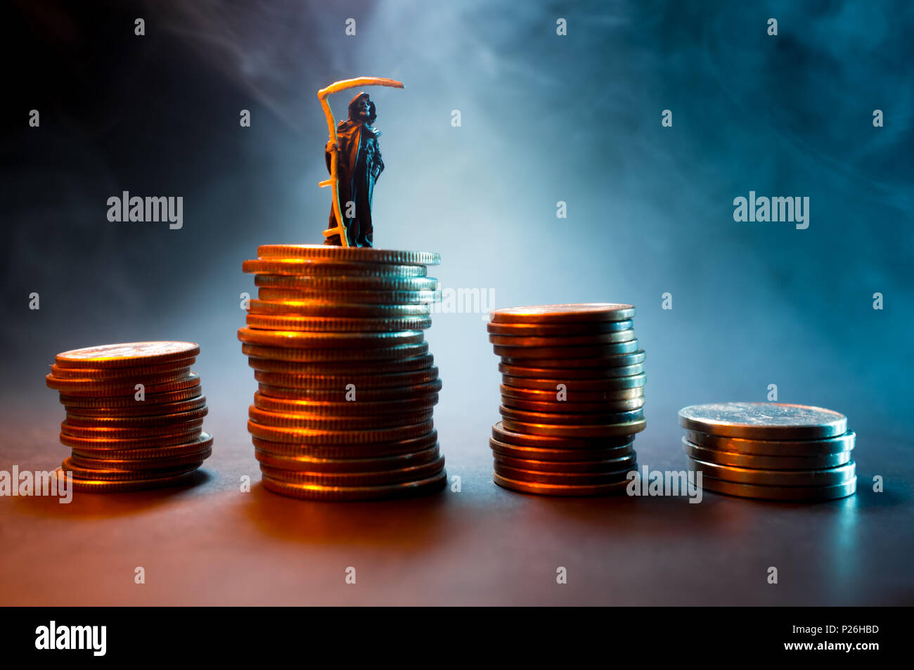 Grim reaper with pile of cash symbolizing the evil of money - Stock Image