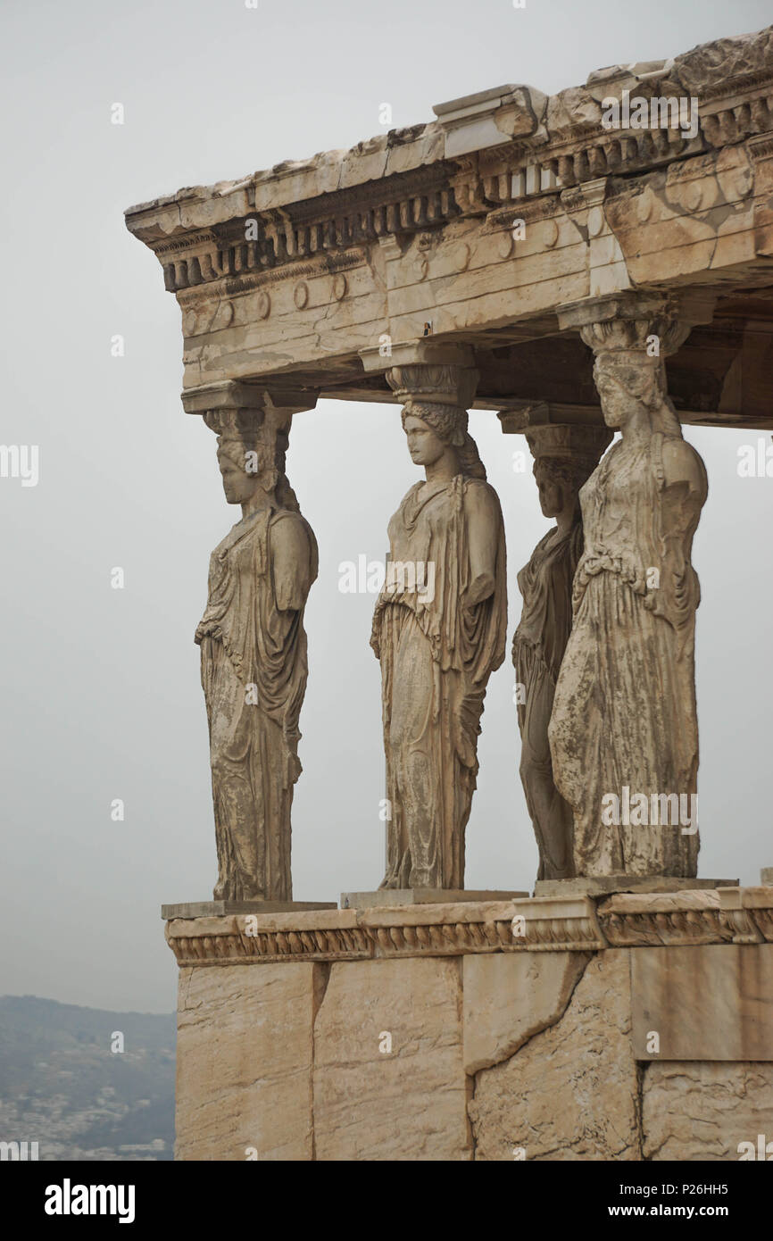Athens, Greece: The porch of the Caryatids, a detail of the Erechtheion at the Acropolis of Athens, built in the Ionic style 421 to 405 BC. - Stock Image