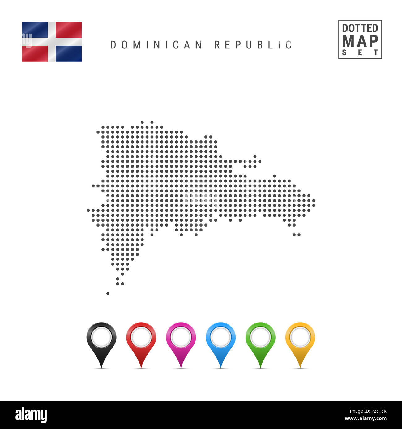Dotted Map of Dominican Republic. Simple Silhouette of Dominican Republic. The National Flag of Dominican Republic. Set of Multicolored Map Markers. I Stock Photo