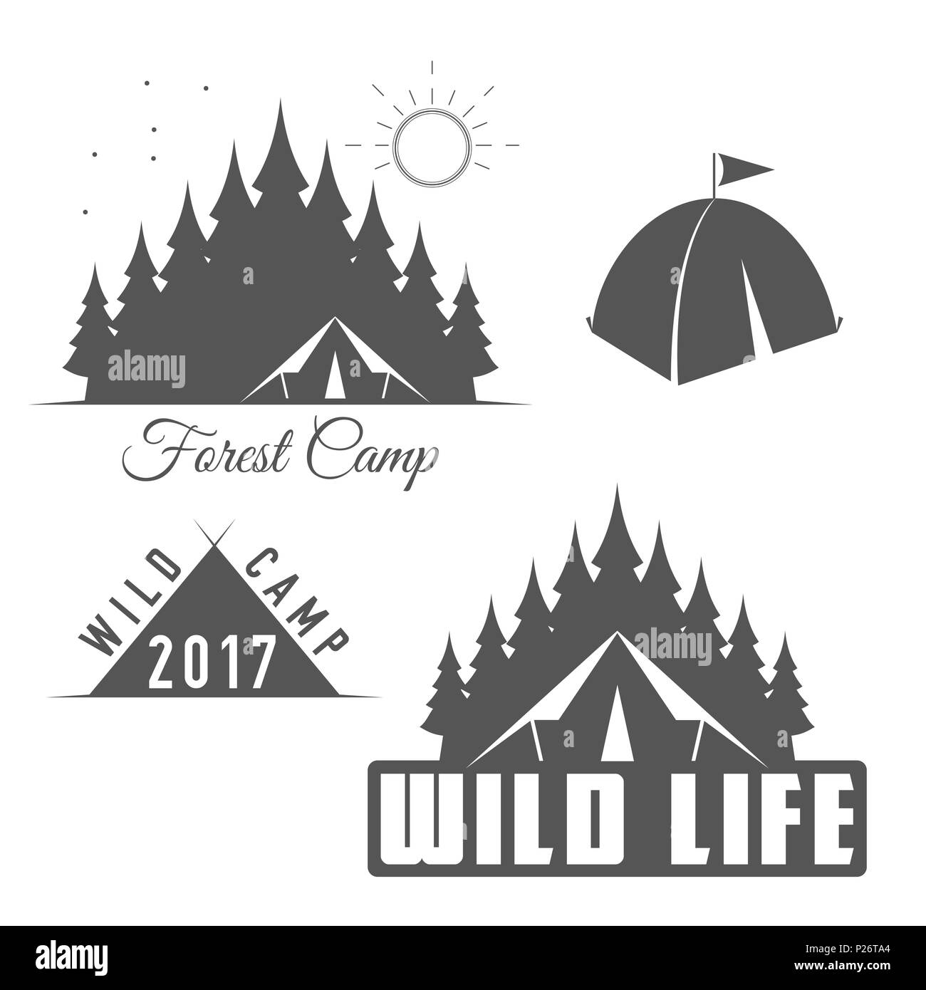 Wild Life - Forest Camp - Scout Club Emblem in Black and White Style. - Stock Image
