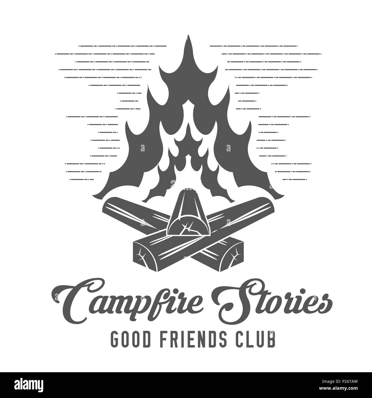 Campfire Stories - Forest Camp - Scout Club Emblem in Black and White Style. - Stock Image