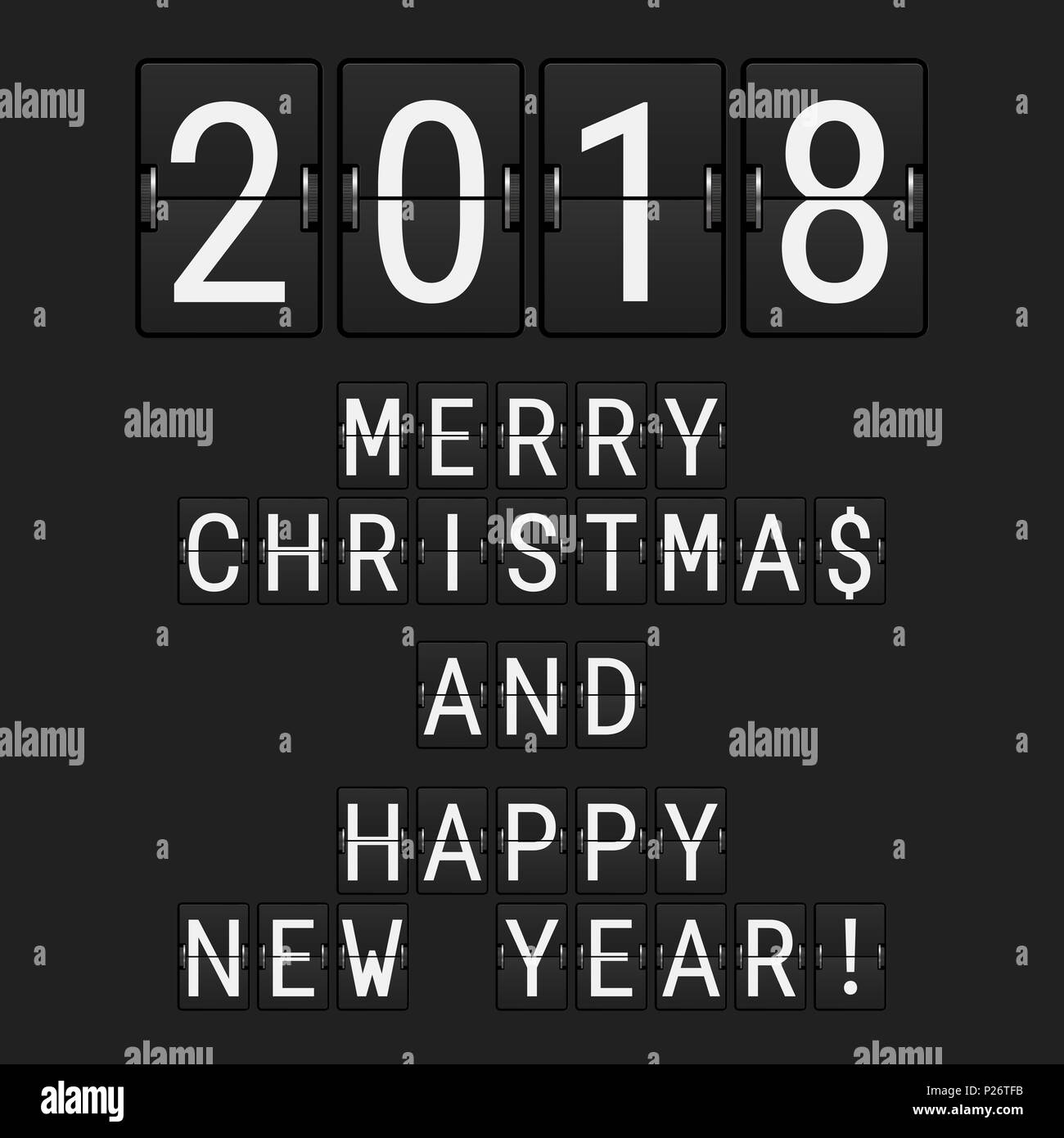 analog flip numbers 2018 and flip letters merry christmas and happy new year greeting card made of airport flip board symbols