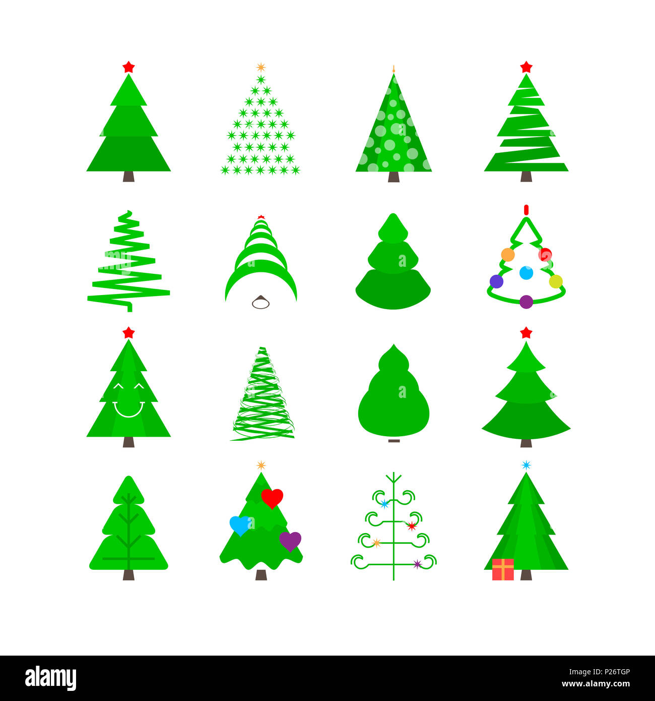 green christmas tree icon set stylized fir trees of different shapes isolated on white - Different Kinds Of Christmas Trees